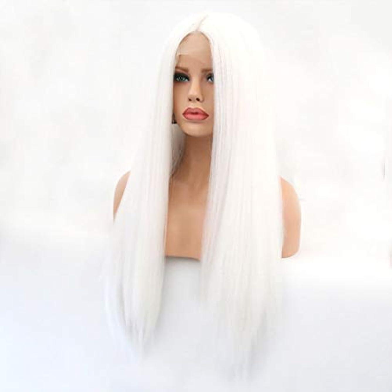 学士宙返り病んでいるKerwinner 本物の髪として自然な女性のためのフロントレースホワイトかつらロングストレートヘア