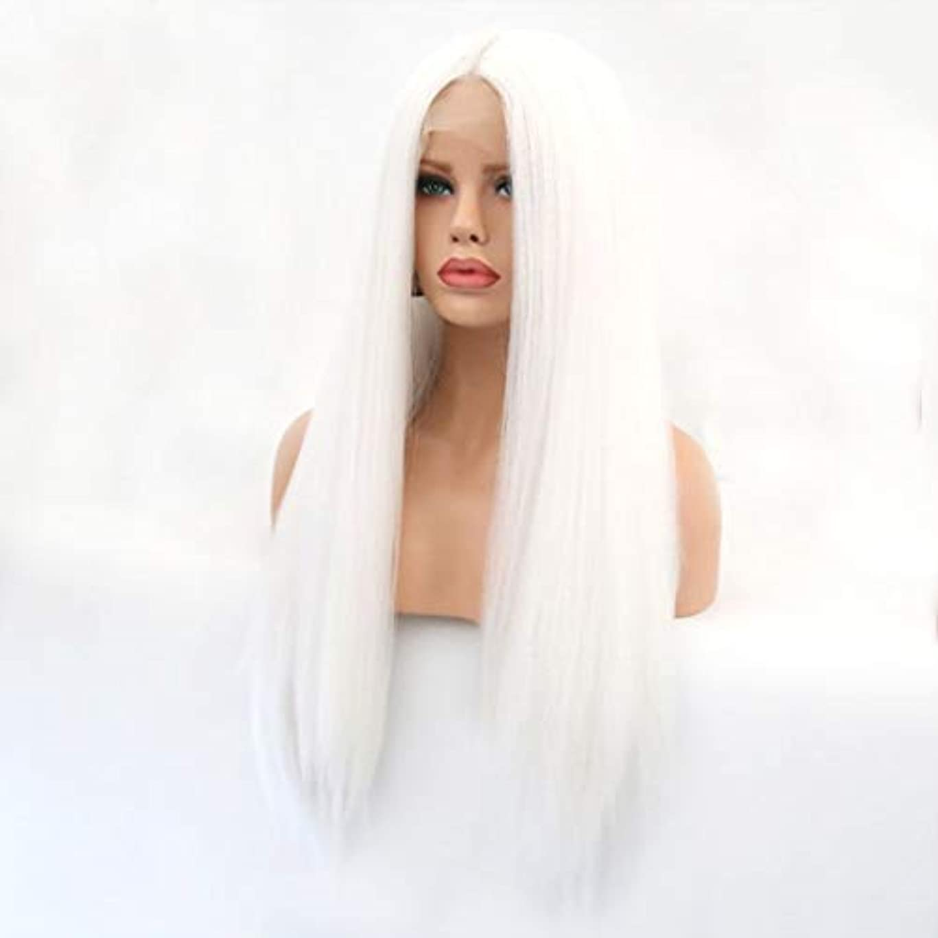 洪水確率代替Summerys 本物の髪として自然な女性のためのフロントレースホワイトかつらロングストレートヘア