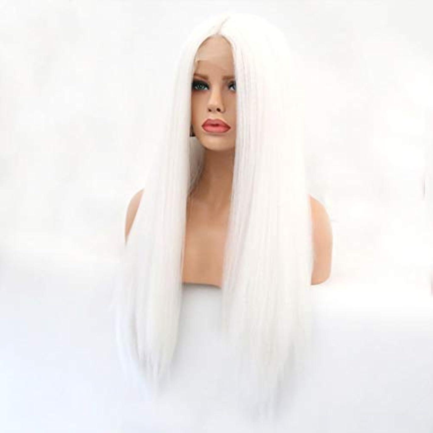 作る代わりの宿Summerys 本物の髪として自然な女性のためのフロントレースホワイトかつらロングストレートヘア