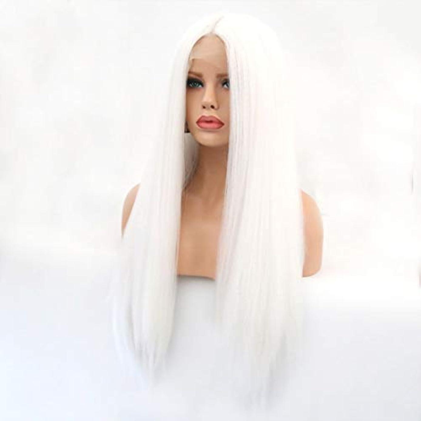 散らす偽追記Kerwinner 本物の髪として自然な女性のためのフロントレースホワイトかつらロングストレートヘア