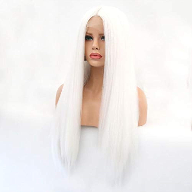見物人砦知覚するKerwinner 本物の髪として自然な女性のためのフロントレースホワイトかつらロングストレートヘア
