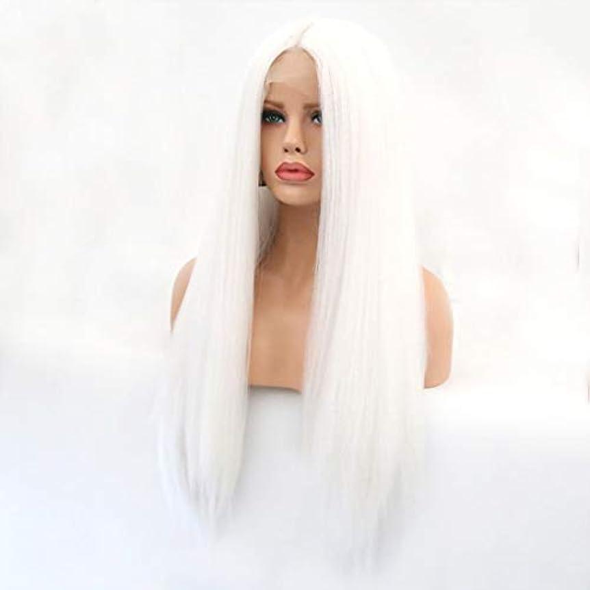 動作グリップ増加するKerwinner 本物の髪として自然な女性のためのフロントレースホワイトかつらロングストレートヘア
