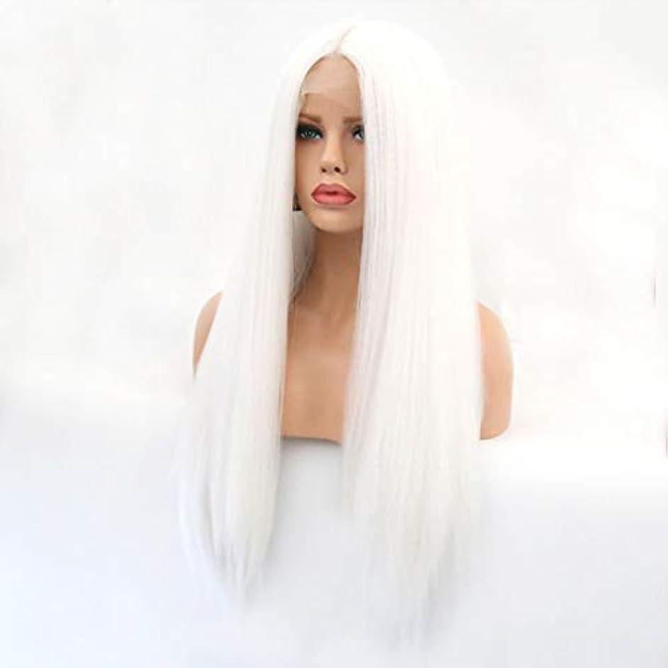 患者内訳鳴らすKerwinner 本物の髪として自然な女性のためのフロントレースホワイトかつらロングストレートヘア