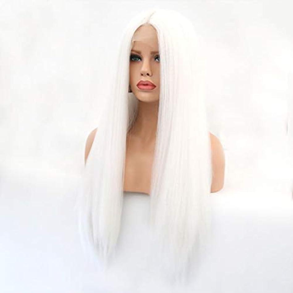 スマートシャベル教えてKerwinner 本物の髪として自然な女性のためのフロントレースホワイトかつらロングストレートヘア