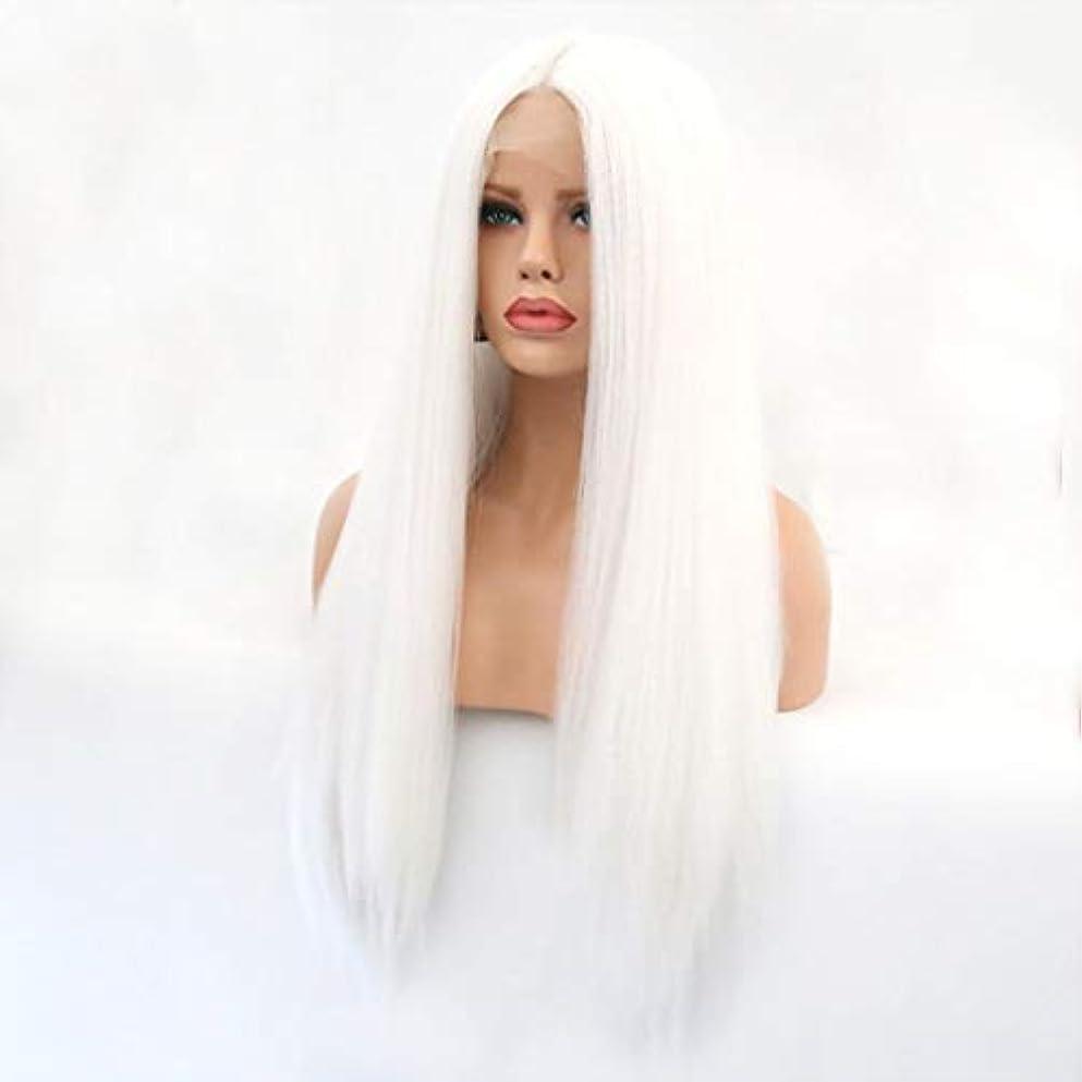 論理的に葉巻引き金Kerwinner 本物の髪として自然な女性のためのフロントレースホワイトかつらロングストレートヘア