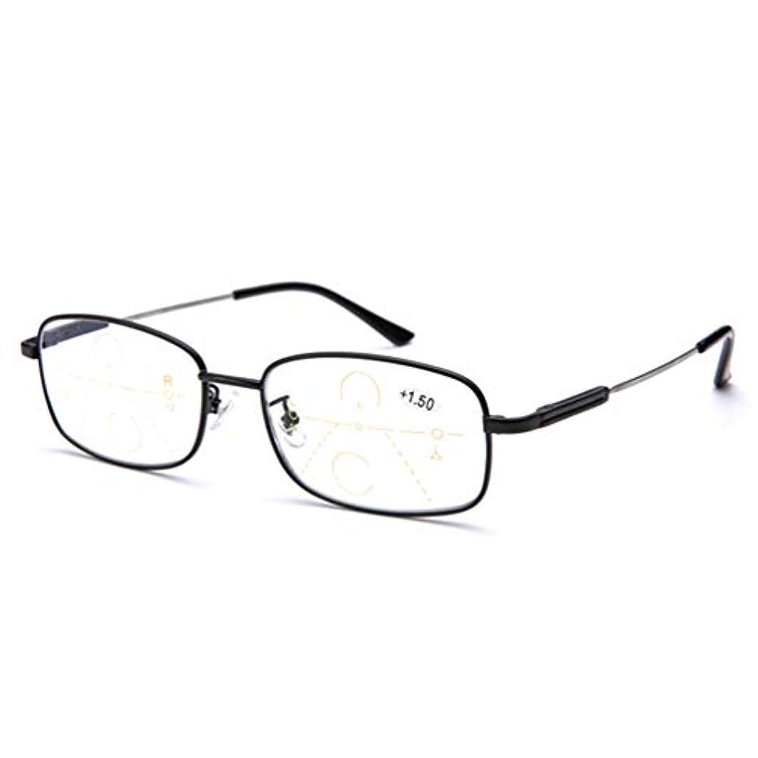 魅力桁種プログレッシブ多焦点老眼鏡、男性と女性Hd光学式リーダーコンピュータメガネ - 男性と女性用