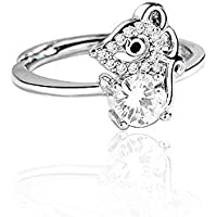 JOYID Cute Rat Mouse Ring Copper Zircon Crystal Zodiac Sign Animal Natal Year Gift Adjustable Ring for Women Girls