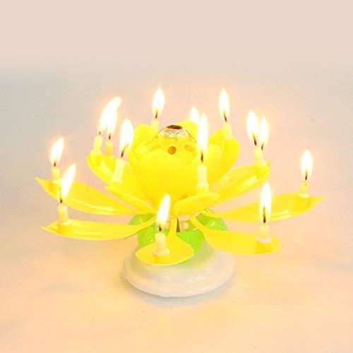 音楽キャンドル キャンドル 花火 ケーキトッパー デラックス インテリア 蓮の花 ろうそく ケーキ装飾 パーディー 誕生...