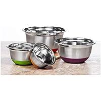 ステンレススチールNonskidシリコンBottoms 4ピースドイツMixing Bowlsセット、光沢仕上げ、鮮やかな色ベース、深い、マルチ使用、mw2924