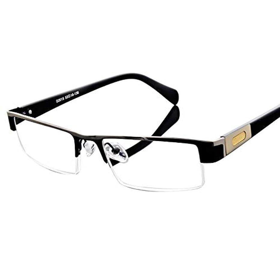 フェデレーション割り込み札入れ老眼鏡男性ファッションハーフフレームブラック高品質HD樹脂レンズクリアで広い視野復元元の色フィット顔快適な着用+2.0