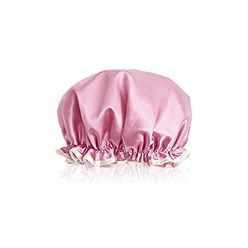 結婚する増強する雪のWYMAI キャップシャワー、ダブルキャップシャワー、女性防水フード、ヘアキャップ、風呂シャワー女性シャワーキャップ、キッチンハット、アンチフードキャップ、シャンパン、ピンク、グレー シンプルで実用的な製品 (Color : Pink)