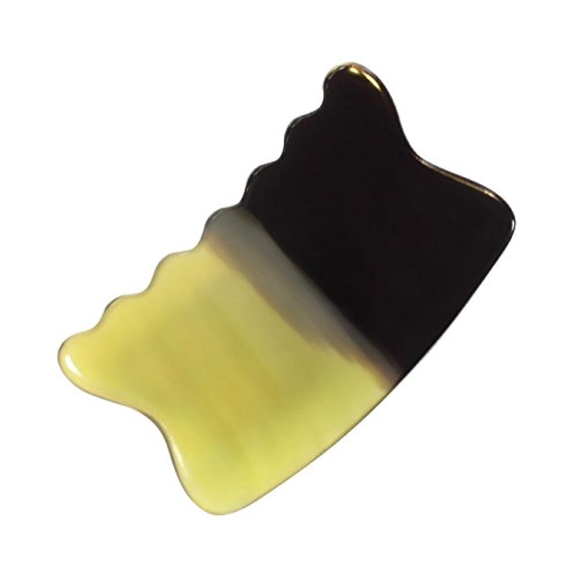 彫刻家所有権課すかっさ プレート 希少60 黄水牛角 極美品 曲波型