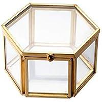 Feyarl Jewelry Trinket Glass Box Ornate Ring Earring Box Preserved Flower Glass Box Organizer Decorative Box Storage Gold
