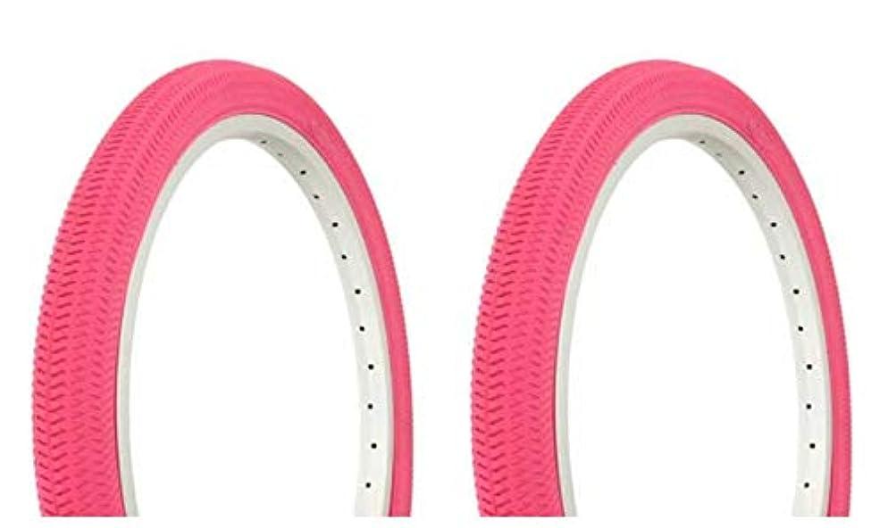 またカレンダーサイクルLowrider タイヤセット 2タイヤ 2タイヤ Duro 20 x 1.95インチ ピンク/ピンク サイド壁 自転車タイヤ 自転車タイヤ クルーザーバイクタイヤ