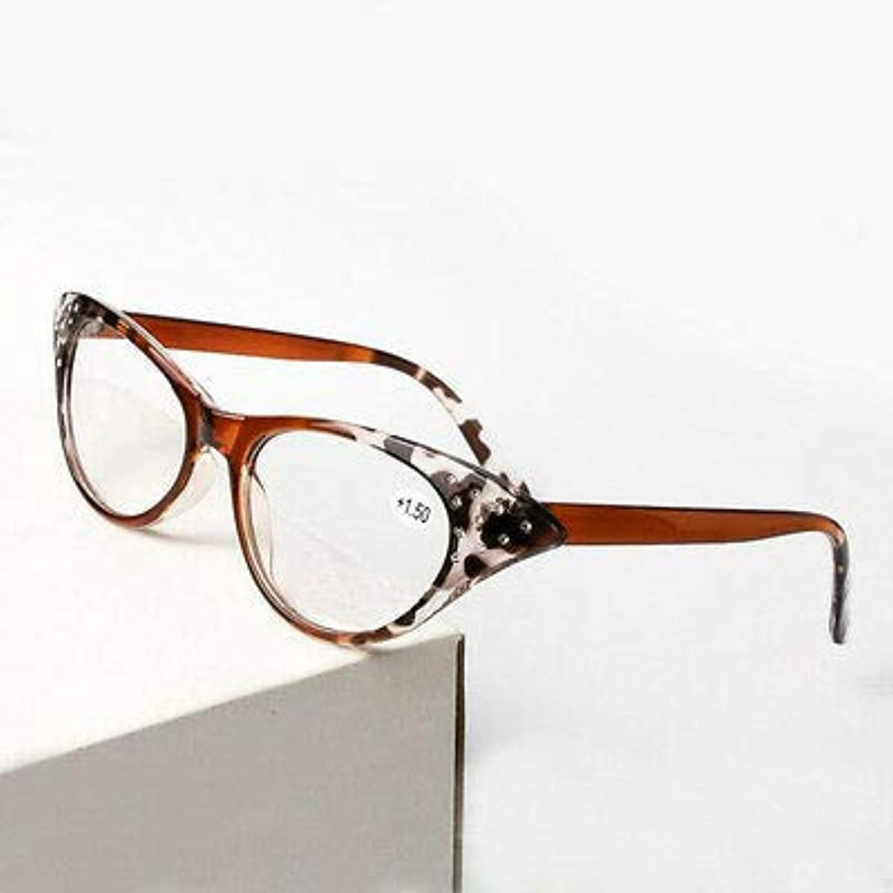 ゲージヒント悲劇FidgetGear ファッションキャットアイレトロ老眼鏡+ 1.0?+ 3.5ヒョウヴィンテージリーダーアイウェア ヒョウ