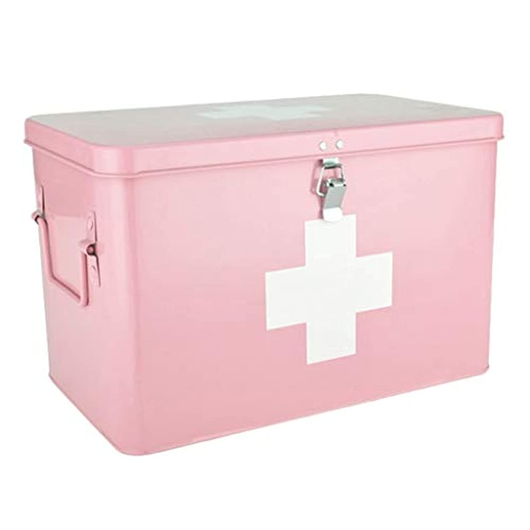 ピルボックス亜鉛メッキ鉄32 * 19.5 * 20 cm家庭用薬ボックス薬収納ボックス (色 : ピンク, サイズ さいず : L32CM)