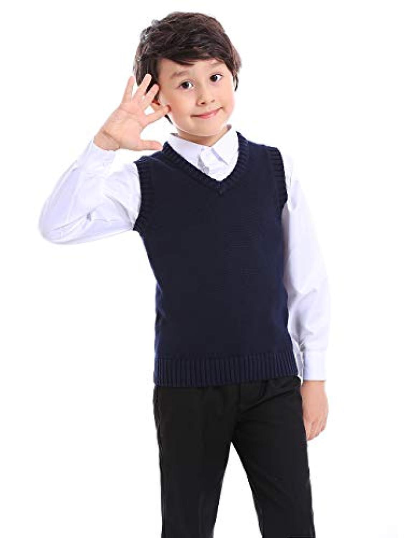 トップタイボーイズVネックニットノースリーブプルオーバー制服セーターベスト(ネイビー/ブラック) - ネイビー - 10