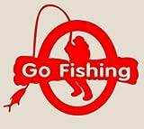 【オルルド釣具】フィッシングステッカー 「 Go Fishing!釣り人4 カラフルバイト! 15×9cm 」 貼付用ヘラ付 クーラーボックス・車などのドレスアップに最適 釣りステッカー カーステッカー デカール シール 魚 ロゴ 文字 外装 デザイン レッド qb600005a03