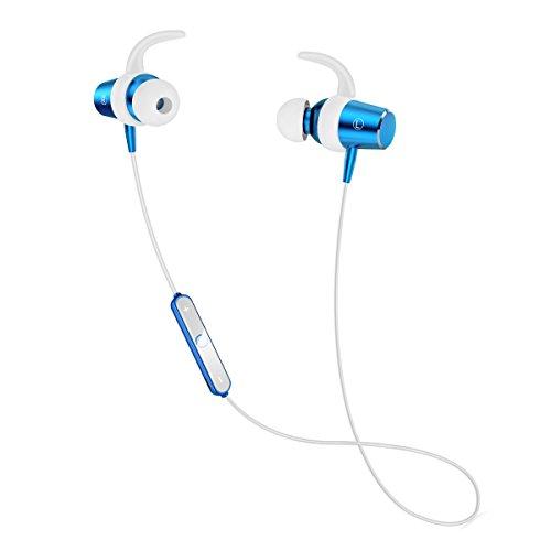 ブルートゥース イヤホン スポーツ仕様 Bluetooth イヤホン マグネット ON/OFF機能搭載 ワイヤレス ヘッドホン カナル型 高音質 APT-X対応 内蔵マイク 防水 防塵 防汗 片耳 両耳 iPhone/Android (ブルー)