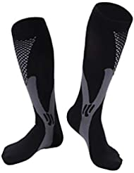 快適な男性女性ファッションレッグサポートストレッチ圧縮ソックス下膝ソックスレッグサポートストレッチ通気性ソックス - ブラック2 XL