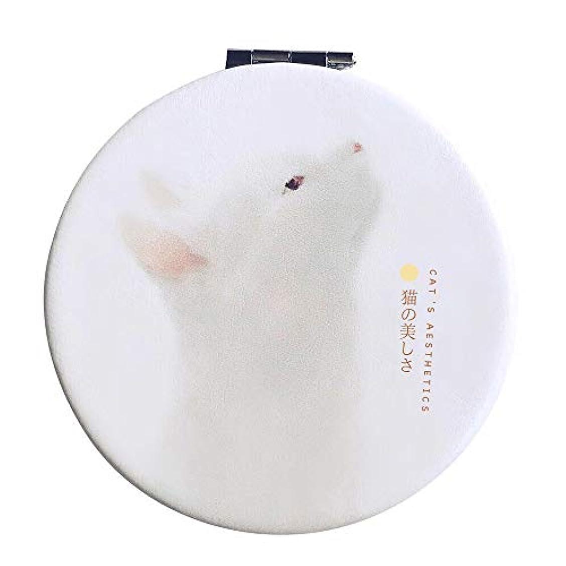 所持装備するプリーツコンパクトミラー 手鏡 折りたたみ 割れない 3倍拡大鏡付き 猫 丸型