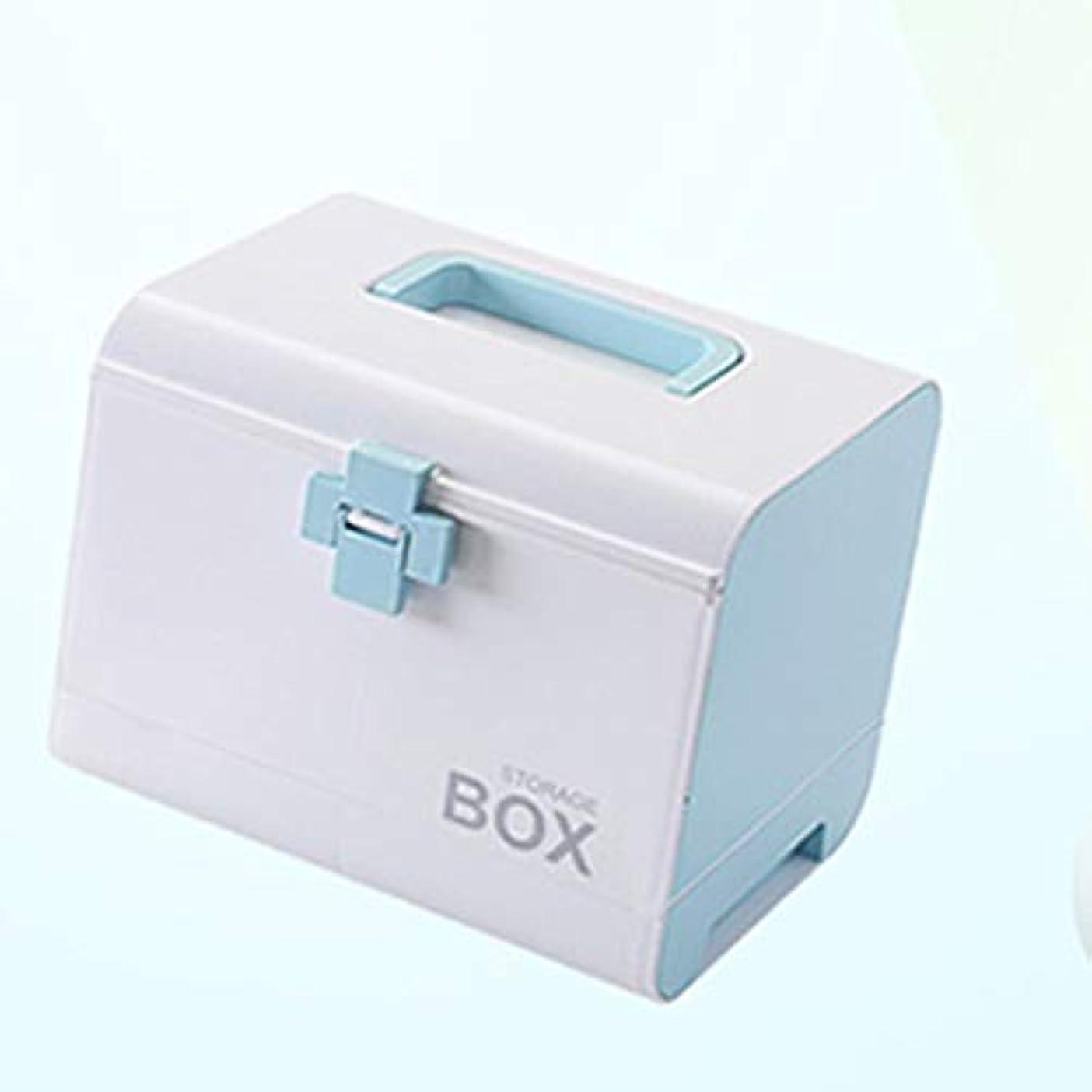 ボタン証明する楽観大型ドラッグ収納ボックス多層救急箱携帯用家庭用薬箱4色(青、緑、ピンク、紫) LXMSP (Color : Blue)