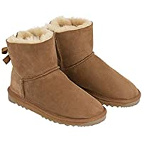 Australian Leather Ultra Short Back Bow UGG Boots for Women's Colour Chestnut