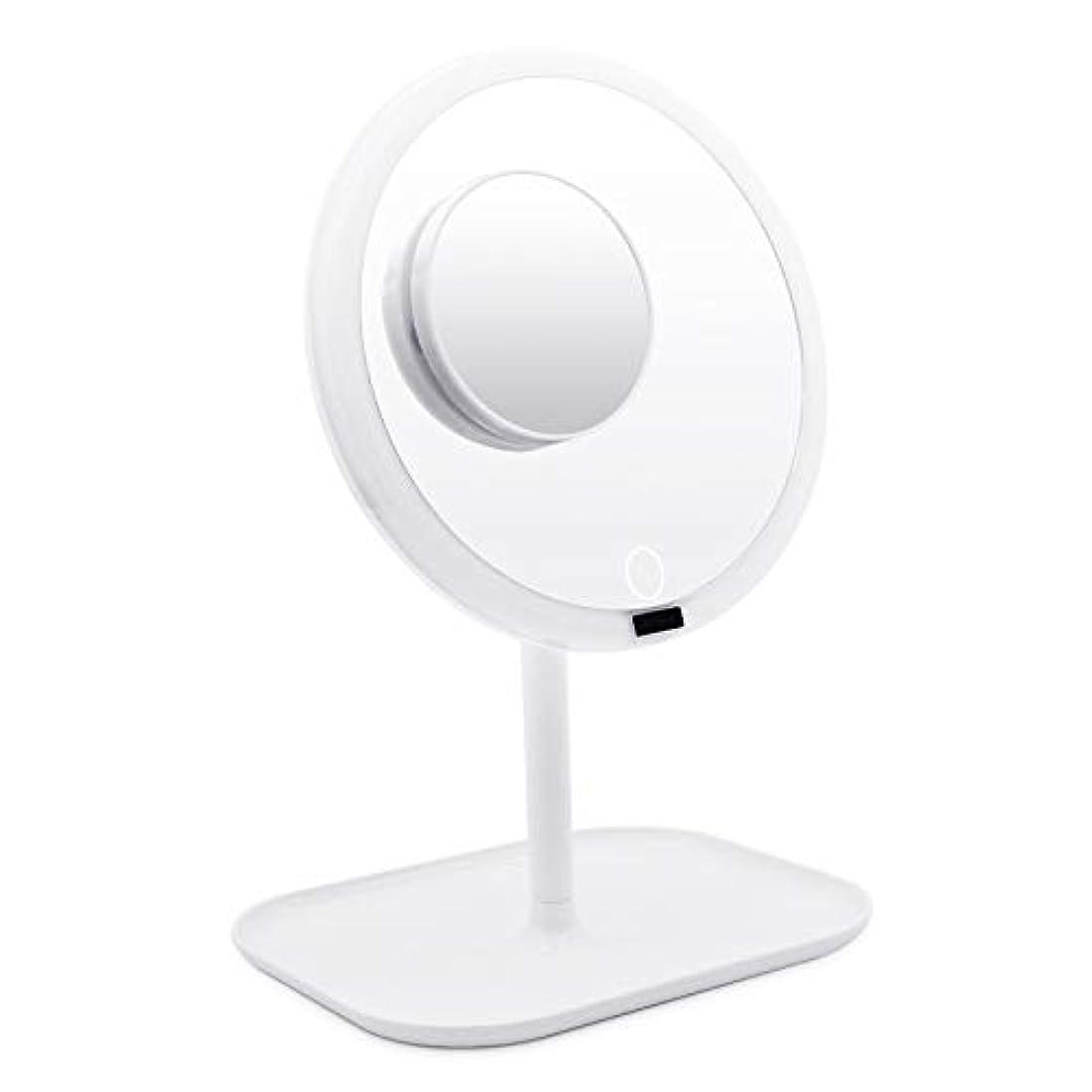 慢性的新しい意味好意AMZTOLIFE 化粧鏡 鏡 卓上ミラー 女優ミラー スタンドミラー「ledライト付き 人感センサー搭載 無階段明るさ調節可能 360度回転 USB充電式」直径20.3cm …