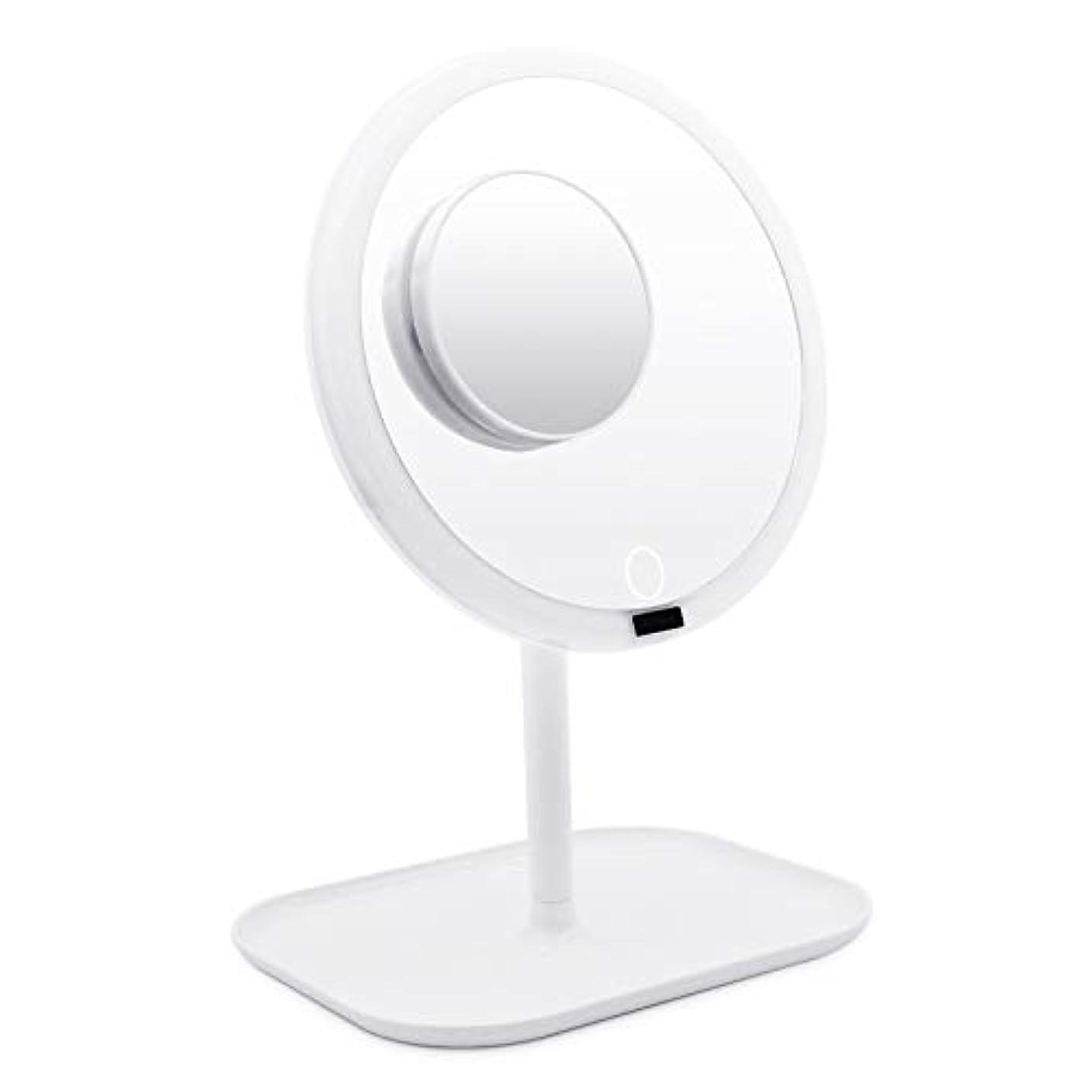 計算する個人スカウトAMZTOLIFE 化粧鏡 鏡 卓上ミラー 女優ミラー スタンドミラー「ledライト付き 人感センサー搭載 無階段明るさ調節可能 360度回転 USB充電式」直径20.3cm …
