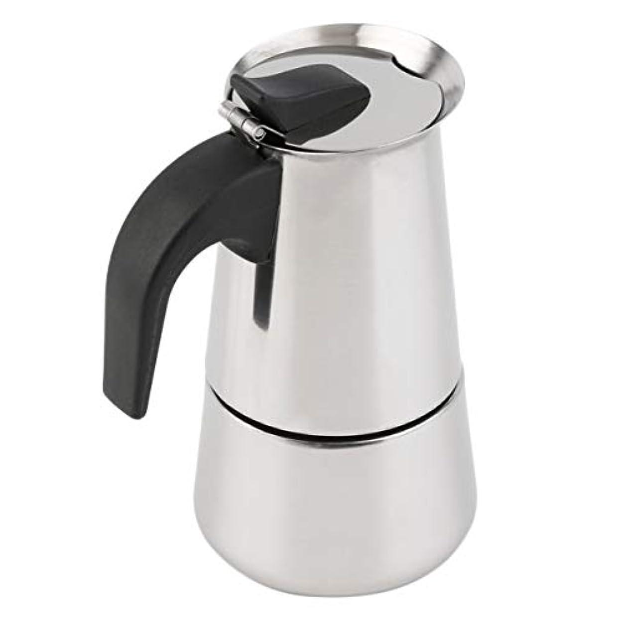 風味解く彼はSaikogoods 2/4/6カップパーコレーターストーブトップのコーヒーメーカーモカエスプレッソラテステンレスポットホット販売 銀 6カップ