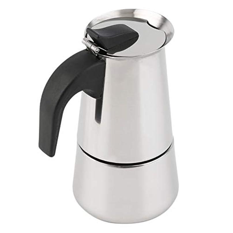 後方に磁器鉛筆Saikogoods 2/4/6カップパーコレーターストーブトップのコーヒーメーカーモカエスプレッソラテステンレスポットホット販売 銀 6カップ