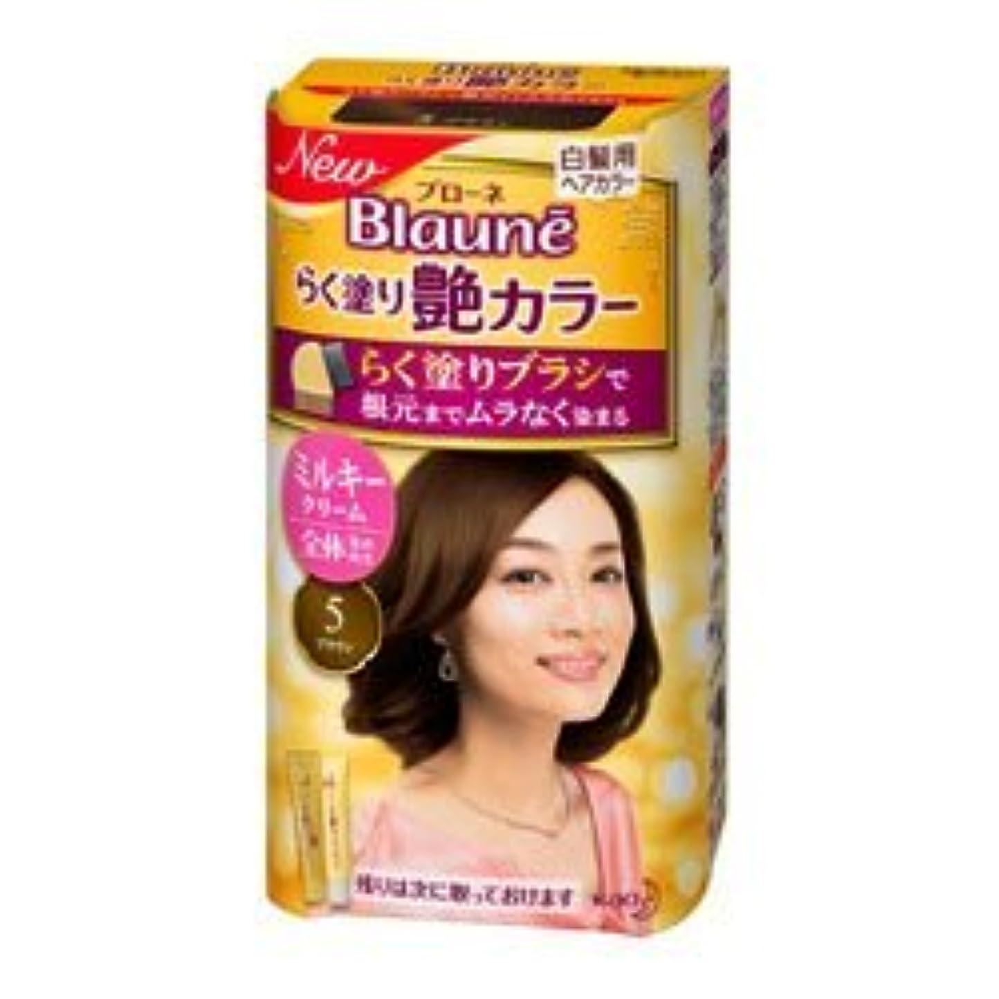 収縮投票公平【花王】ブローネ らく塗り艶カラー 5 ブラウン 100g ×3個セット