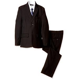 (ミガロ)MIGARO 卒業式スーツ 男の子/ 子供フォーマルスーツ (ブラック/2つボタン) 5点セット (スリーピース+白カッター+ネクタイ)