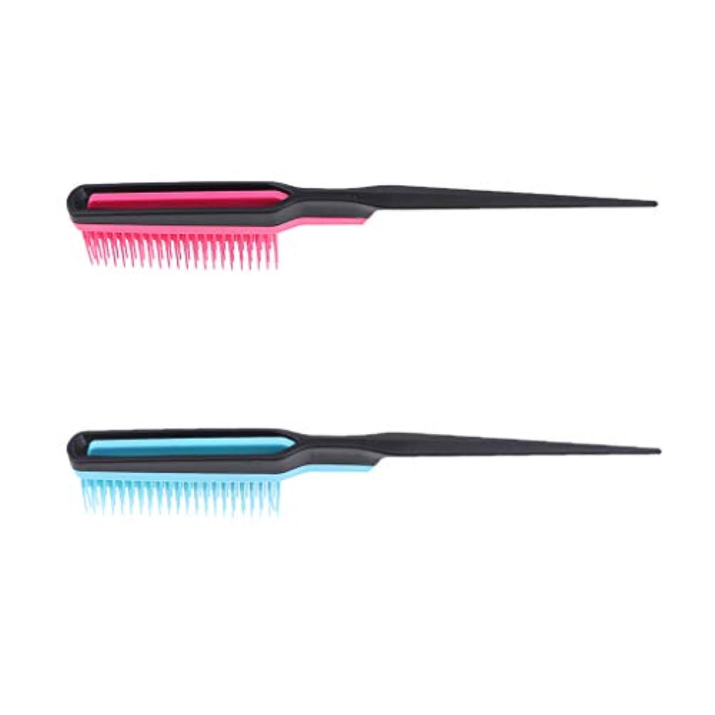 F Fityle 2個 ふわふわ 櫛 ナチュラル ヘアブラシ ヘアスタイリスト 理髪