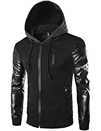 Sodossny-JP メンズレギュラーフィットフォークスPUパッチワークロングスリーブパーカースウェットシャツジャケット