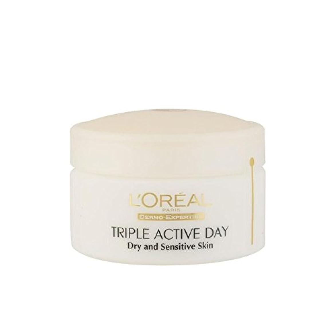 ロレアルパリ、真皮の専門知識トリプルアクティブな一日のマルチ保護保湿 - ドライ/敏感肌(50ミリリットル) x2 - L'Oreal Paris Dermo Expertise Triple Active Day Multi-Protection...