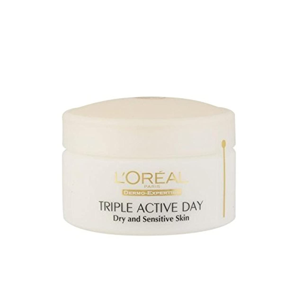 リス交じる形成L'Oreal Paris Dermo Expertise Triple Active Day Multi-Protection Moisturiser - Dry/Sensitive Skin (50ml) (Pack...