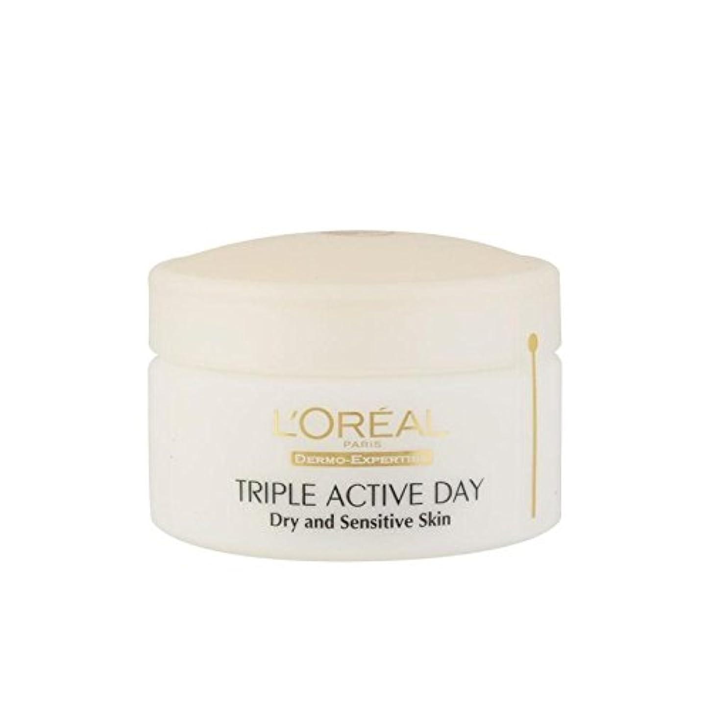 マージンマークされた上昇L'Oreal Paris Dermo Expertise Triple Active Day Multi-Protection Moisturiser - Dry/Sensitive Skin (50ml) (Pack...