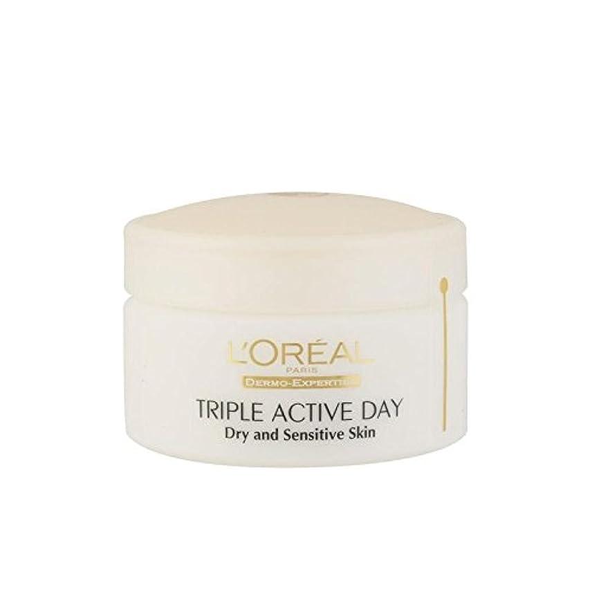 ロレアルパリ、真皮の専門知識トリプルアクティブな一日のマルチ保護保湿 - ドライ/敏感肌(50ミリリットル) x4 - L'Oreal Paris Dermo Expertise Triple Active Day Multi-Protection...