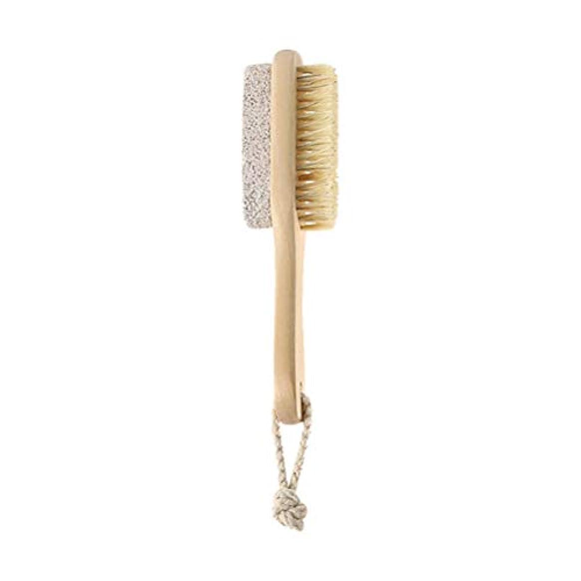 モニター帳面休憩HEALIFTY 自然な毛の足のやすりやすりのブラシの軽石の石のカルスの除去剤木製のハンドルが付いている死んだ皮の除去剤