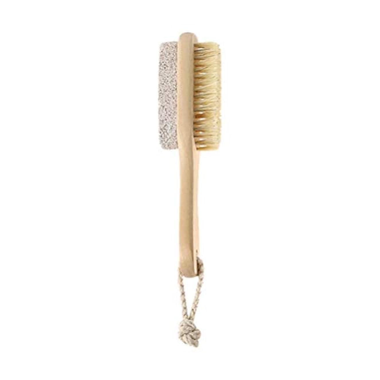 早める電卓甲虫HEALIFTY 自然な毛の足のやすりやすりのブラシの軽石の石のカルスの除去剤木製のハンドルが付いている死んだ皮の除去剤