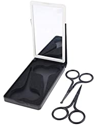 D DOLITY 鼻毛 耳毛 髪 眉用はさみ メイク道具 ステンレス製 安全用品 3色選ぶ - ブラック