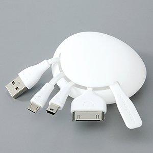 ミニUSB/microUSB/Dockコネクタを同時に充電できる「ニコニコUSBケーブル」