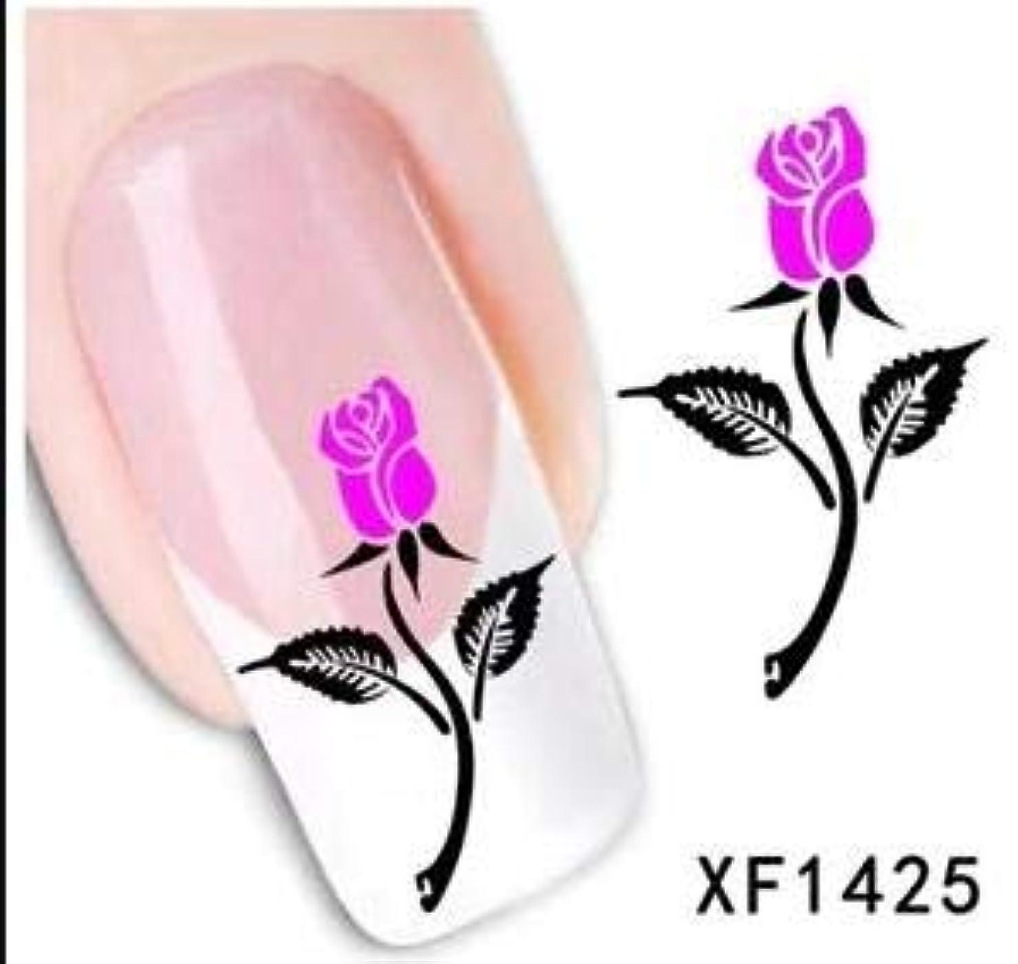 違反小屋月Yan 5個ファッションマニキュアデカール花柄デザイン水転写ステッカー(XF1422) (色 : XF1425)