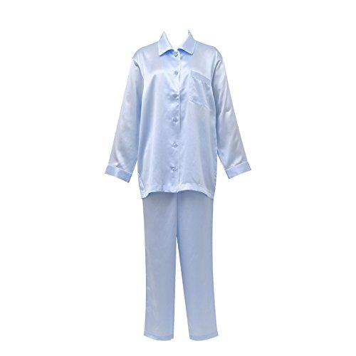 (ワコール)Wacoal 睡眠科学 レディース シルクサテン シャツパジャマ 長袖 上下セット シルク100% 絹(SX-