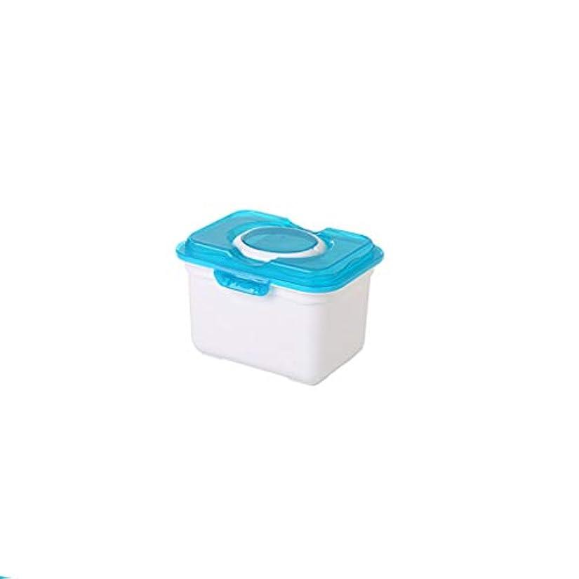 不可能な満足させるギャラリー多機能家庭用薬箱医療応急処置キット薬収納ボックス二層薬収納ボックス二サイズオプション AMINIY (Color : Blue, Size : 24.5×18.5×17cm)