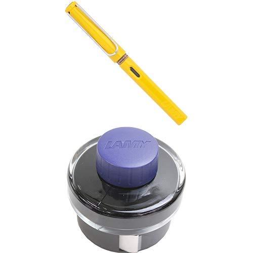 LAMY ラミー 万年筆 ペン先EF(極細字) サファリ イエロー L18-EF 両用式 コンバーター別売 正規輸入品+LAMY ラミー ボトルインク ブルーブラック LT52BLBK 6個セット 正規輸入品
