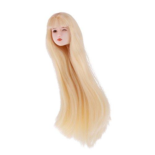 Lovoski 1/6スケール 女性の頭部  ガール 長い髪 ヘッド 頭 モデル 12インチ女性フィギュア用 アクセサリー 3種類選べる - 01