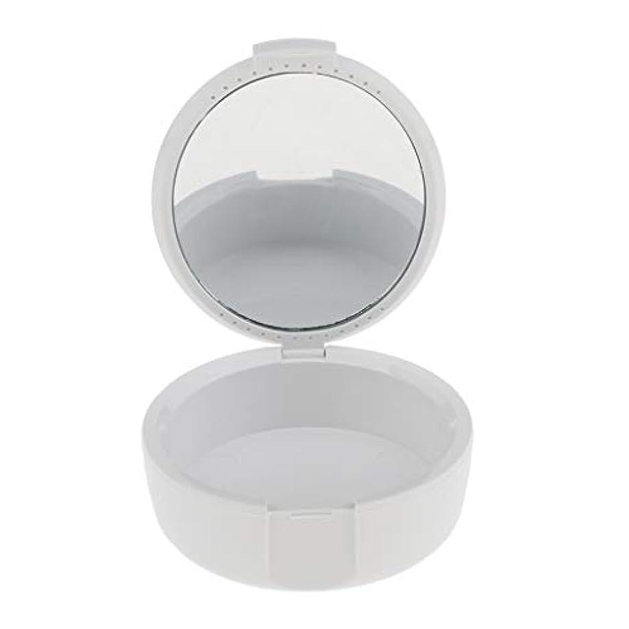 忙しい奇跡的な協力するD DOLITY 義歯ケース マウスガードケース ミラー付き 便利 2色選べ - 白