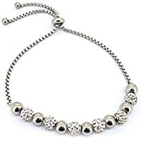 Bevilles Stainless Steel White Crystal Pave Bolo and Plain Ball Bracelet